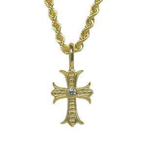 【K18 ペンダントトップ 18金 クロスモチーフ ダイヤモンド ダイヤ 0.03ct ペンダント 十字架 メンズジュエリー】