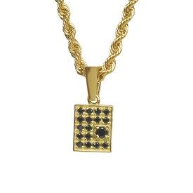 【ジュエリー K18 ペンダントトップ ブラックダイヤモンド 18金 ブラックダイヤ 0.11ct ペンダント スクエア メンズジュエリー】