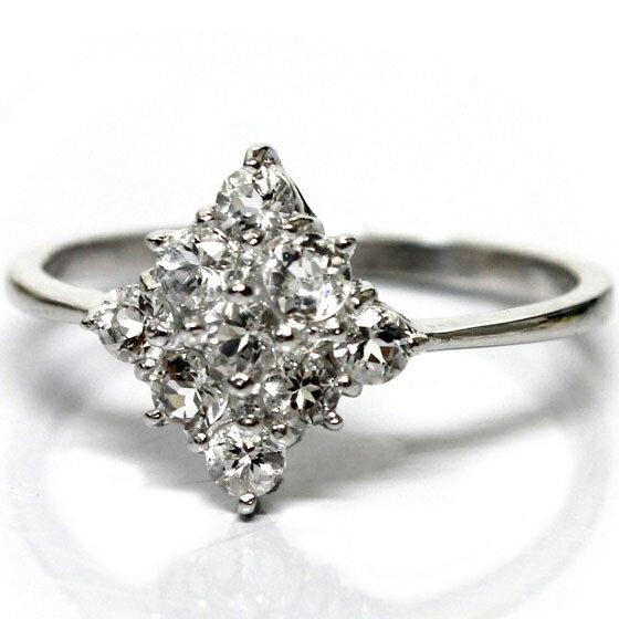 ダイヤ型ヒマラヤ水晶リング (天然石 パワーストーン アクセサリー 指輪 9号) メール便不可