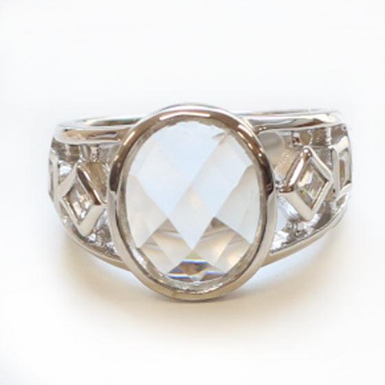 ヒマラヤ水晶リングオーバル デザイン (天然石 パワーストーン アクセサリー アクセ 指輪 オーバル SV シルバー925 7号) メール便不可