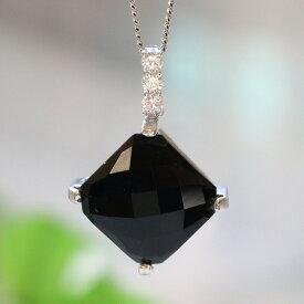 黒水晶ひし形シルバーペンダントトップ(天然石 パワーストーン アクセサリー ペンダント ネックレス 菱形 四角 スクエア)メール便不可