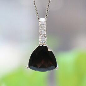 黒水晶トライアングル型シルバーペンダントトップ(天然石 パワーストーン アクセサリー ペンダント ネックレス 三角)メール便不可