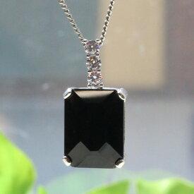 黒水晶長方形シルバーペンダントトップ(天然石 パワーストーン モリオン ネックレス SV925 シルバー ファセットカット スクエア 四角 レクタングル)メール便不可