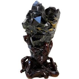 特大 黒水晶 原石 木製台座付き(天然石 パワーストーン 置物)メール便不可
