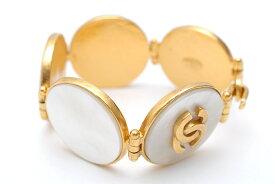 極美品 シャネル CHANEL ココマーク シェル 5連 ブレスレット 95A ゴールドホワイト P0408 【中古】