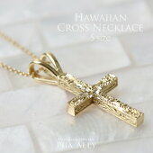 【K14クロスネックレスS】ハワイアンジュエリーハワジュHawaiianjewelryPuaallyプアアリ手彫り十字架メンズ男性ペアにも楽ギフ_包装
