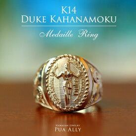 【K14 ハワイアン デュークカハナモク リング 】ハワイアンジュエリー ハワジュ Hawaiian jewelry Puaally プアアリ 手彫り 指輪 14金 サーファー サーフィン プレゼント メンズ サーフ 海 ペアリング ピンキーリング