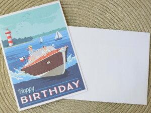 【TRADER JOE'S】 バースデーカード レターセット HAPPYBIRTHDAY 夏 バカンス ボート お手紙 メッセージカード ギフト 贈り物 お誕生日 お祝い 封筒付き 海外雑貨 ハワイ買い付け 海外 海