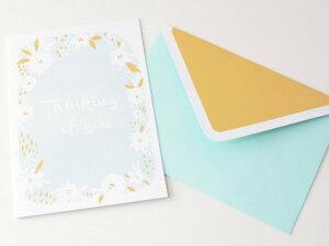 メッセージカード レターセット お手紙 カード ギフト 贈り物 パーティー 招待状 お祝い 封筒付き 海外雑貨 ハワイ買い付け お花 キラキラ ゴールド おしゃれ