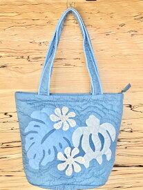 母の日 ハワイアンキルト バッグ ブルー カメ 中 トートバッグ ショッピング サブバッグ ハンドバッグ ブルー 旅行 旅行用バッグ お出かけ ハワイアン雑貨 ハワイ モンステラ ハワイアン雑貨 Hawaii 海外 プレゼント ギフト 母の日