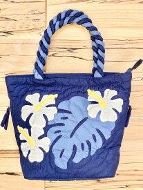 ハワイアンキルト 母の日 バッグ ブルー モンステラ 中 トートバッグ ショッピング サブバッグ ハンドバッグ 旅行 旅行用バッグ お出かけ ハワイアン雑貨 ハワイ ハワイアン雑貨 Hawaii 海外 プレゼント ギフト