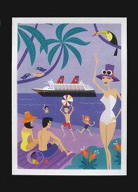 【S】ハワイアンポスター アート パープル ビーチ船 シャグ shagハワイ 雑貨 ハワイアン雑貨 ハワイアン インテリアアメリカン雑貨 ハワイポスター ポスター