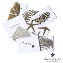 ハワイアン雑貨 ハワイ 雑貨【メール便 OK】BRADLEY&LILY 2つ折り メッセージ カード ゴールドハワイアン 凹凸印刷 foil press メイド…