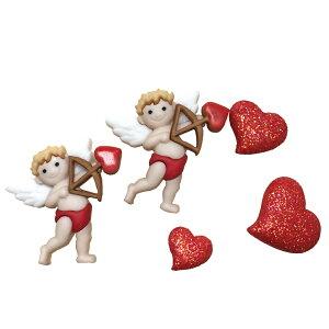 【複数購入 割引クーポン配布中】ボタン セット 手芸 キューピッド アロウ 約5個【7704】ハワイアン雑貨 ハワイ雑貨 かわいい 天使 エンジェル ハート 赤 バレンタイン おしゃれ 女の子 大人