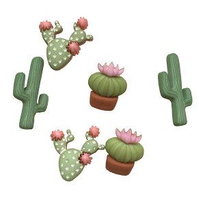 【マラソン限定クーポン配布中】ボタン セット 手芸 サボテン カクタス 約6個【11385】ハワイアン雑貨 ハワイ雑貨 かわいい 植物 砂漠 多肉植物 砂漠 さぼてん メキシコ おしゃれ 女の子 男の