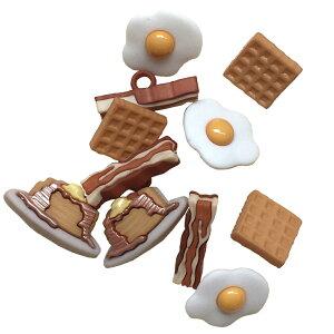 【SS】ボタン セット 手芸 オーバーイージー 約11個【7677】食べ物 卵 たまご 目玉焼き ワッフル ベーコン パンケーキ ハワイアン ハワイ 雑貨 かわいい おしゃれ 男の子 女の子 大人 飾りボタ