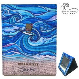 コンパクト ミラー 鏡 キティー コリーン ウィルコックス ハワイ サンリオ 公式 持ち運び 四角 レディース 大人 女性 ハワイ ハワイアン Colleen Wilcox おしゃれ かわいい サーフィン スタンド 波 ウェーブ 西海岸 ブルー 青 ギフト 日本 限定