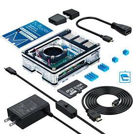 Raspberry?Pi?4?ケース/MicroSDHCカード32G NOOBSシステムプリインストール/カードリーダ/5.1V3A?Type-C スイッチ付電源 PSE取得/Mic