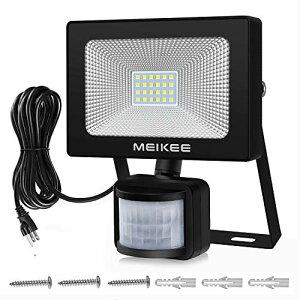 MEIKEE センサーライト 屋外 人感センサー 防犯 20w 防水 6500K 2200LM 感知式 コンセント 投光器 フラッドライト 昼白色 超高輝度