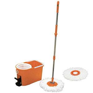【バケツ付き】アイリスオーヤマ 回転モップ 手が汚れない 足踏みタイプ 本体 楽々 洗浄 脱水高さ102~131cm KMO-490S