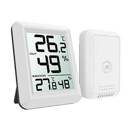 ORIA デジタル 温湿度計 外気温度計 ワイヤレス 室内 室外 高精度 LCD大画面 置き掛け両用 華氏/摂氏表示 温室 ペット 温度管理 健康