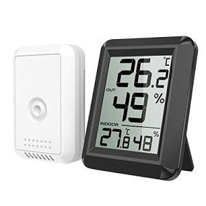 ORIA デジタル 温湿度計 外気温度計 ワイヤレス 温度湿度計 室内 室外 一つセンサー 高精度 LCD大画面 置き掛け両用 バックライト機