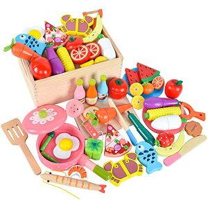 木製 おままごと セット マグネット ごっこ遊び 木のおもちゃ 木のおままごと 切る遊び 人気 きれる食材 料理 野菜 果物 食べ物 フラ