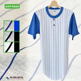 [SALE/返品交換不可]ヘンリーネック ベースボールTシャツ ピンストライプ 無地 AUGUSTA SPORTSWEAR
