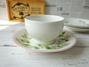 口径8cmヨーグルトボウルとペパーミントのお花のソーサースープカップ シリアルボウル 小鉢 国産 おしゃれ 美濃焼 かわいい 陶器【キャッシュレス5%還元】