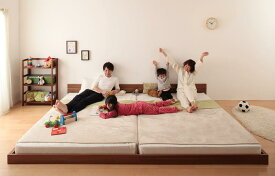 連結ベッド マットレス付き ファミリーベッド 家族ベッド ずっと使える・将来分割出来る・シンプルデザイン大型フロアベッド Grati グラティー スタンダードボンネルコイルマットレス付き キング(SS+S)
