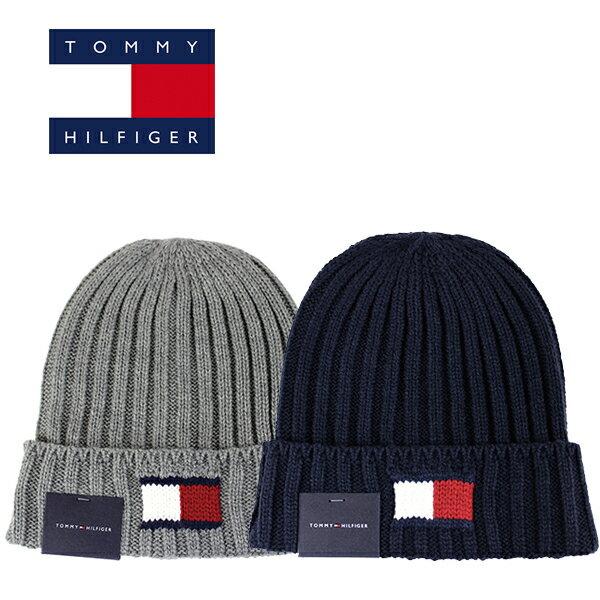 TOMMY HILFIGER(トミー ヒルフィガー) KNIT LOGO CUFF ニット帽 ニットキャップ (ブラック/ネイビー/グレー/チャコール/ビーニー/キャップ/帽子/メール便)