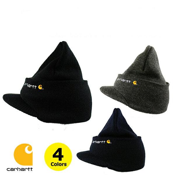 カーハート ニット帽 ニットキャップ つば付き CARHARTT (ブラック/ネイビー/グレー//A164/メンズ/レディース/キャップ)