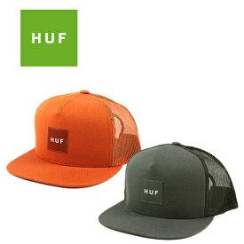 HUF ハフ キャップ ボックス ロゴ トラッカー メッシュキャップ メンズ レディース (グレー/オレンジ/帽子)