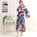 送料無料 着物ロングドレス 帯付きななめカットフリル花魁着物ロングドレス 大人気花魁着物シリーズの着物ドレス よさ…