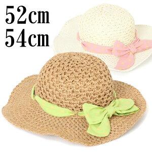 麦わら帽子 キッズ 54cm 52cm ドットリボン キャペリンハット 帽子 ストローのような質感ながら軽やかなペーパー素材 つば淵は針金入りでアレンジ自由 つば広帽子 女の子 軽量 ca-4320928-SD-BT38S-