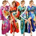 送料無料 着物ロングドレス 和柄ロング着物 グラデーション 豪華 大人気花魁着物シリーズ 着物ドレス よさこい 衣装 …