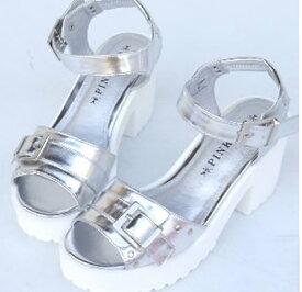 バイカラー細ストラップサンダル 厚底サンダル 女性用サンダル 靴 くつ プール 海水浴 アウトドア 4522752-SH-15064