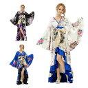 送料無料 着物 ロングドレス フリル 和柄 ロング着物 背中ファスナー 豪華 大人気花魁着物シリーズ フリル 着物ドレス…