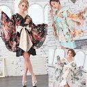 送料無料 着物ミニドレス 花魁 花柄 フリル サテン 着物 ドレス 衣装 和装 ダンス コスプレ コスチューム セクシー着…