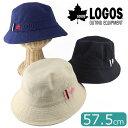 送料無料 ロゴス バケットハット 57.5cm LOGOS ロゴハット 刺繍 ブランド ウォッシュ加工 紫外線対策 アウトドア レジャー お出かけ 帽子 ユニセックス 男女兼用 UV対策 春夏帽子 婦人 紳士