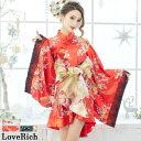 送料無料 チャイナ風 着物ミニドレス 花魁 花柄 レース フリル 豪華帯付き サテン 着物 ドレス 衣装 和装 ダンス コス…
