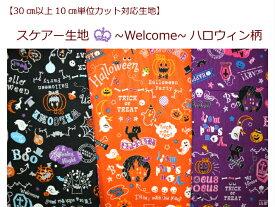 【30cm以上から10cm単位カット対応】【スケアー生地☆Welcome ハロウィン柄】かぼちゃ/COSMO(1342)