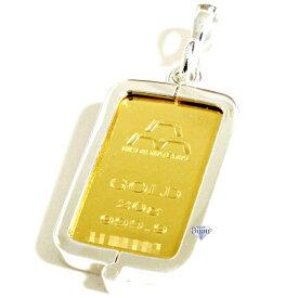 純金 インゴット 日本マテリアル 20g k24 シルバー925 脱着可能リバーシブル枠付き ペンダント トップ 銀色 送料無料