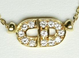 Dior クリスチャン・ディオール K18 YG ダイヤ ネックレス 18K