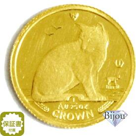 K24 マン島 キャット金貨 コイン 1/25oz 1.24g 1990年 招き猫 純金