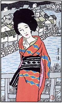 "[Takehisa yumeji] reprint woodcut 'room Tsu"""