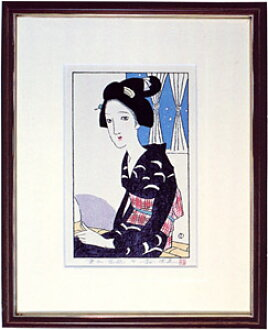 [Takehisa yumeji] reprint woodcut 'window treatments'
