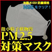 PM2.5対応マスクN95規格3枚組レビューでゆうパケット送料無料花粉症黄砂火山灰ほこり排気ガススモッグ新型インフルエンザウイルスブロック隙間対策ノーズガードゴム長さ調節