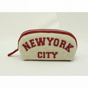 NEW YORKバリエシェル型ポーチ ベージュ ポーチ ペンポーチ 筆箱 メイクポーチ 中学生 高校生 女子 男子 小学生 ケアポーチ おしゃれ ロゴ
