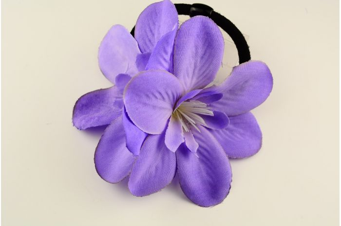 CONフラワーW1721 PU ヘアゴム ゴム 花 造花 フラワー パープル 紫 ヘアアクセサリー ヘアアクセ ヘア小物 ヘッドアクセ 髪飾り 髪留め レディース 女の子 大人 子供 キッズ